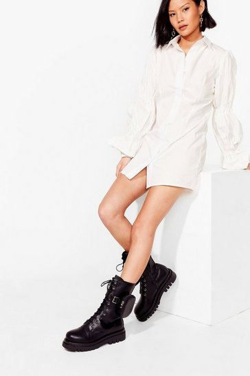 Black Faux Leather High Ankle Biker Boots