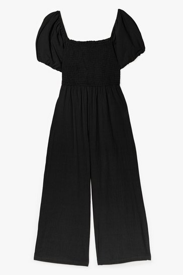 Black Why So Puff Sleeve Shirred Culotte Jumpsuit