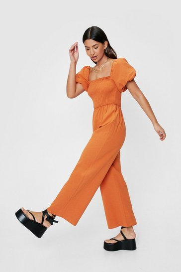 Rust Why So Puff Sleeve Shirred Culotte Jumpsuit
