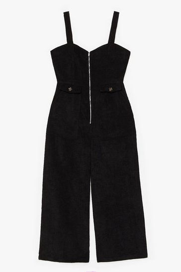 Black Who Do You Think You'Re Kidding Corduroy Jumpsuit