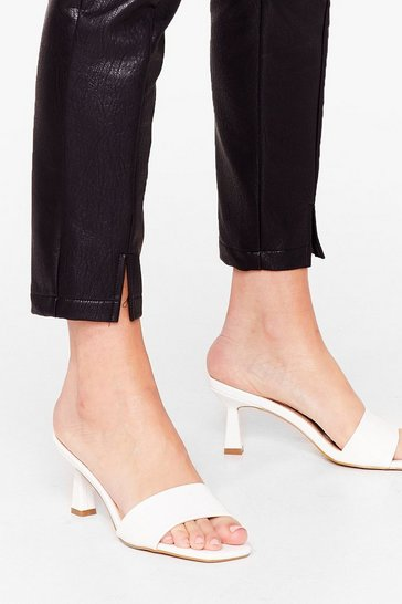 White Quilt Trip Faux Leather Kitten Heel Mules
