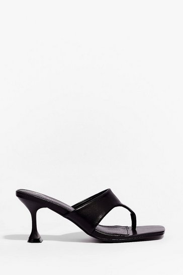 Black It's Meant Toe Be Faux Leather Stiletto Mules
