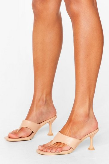 Beige It's Meant Toe Be Faux Leather Stiletto Mules