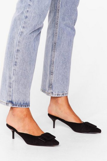 Black You're Kitten Me Faux Suede Heeled Mules