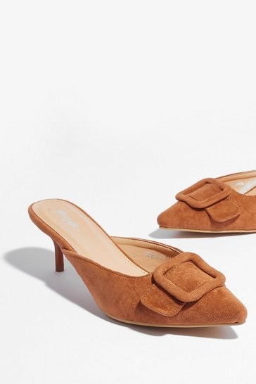 Camel You're Kitten Me Faux Suede Heeled Mules