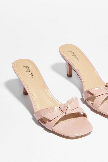 Pink They've Got Bow Chance Croc Heeled Mules