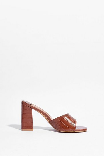 Camel Croc With You Asymmetric Heeled Mules