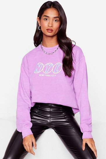 Purple Let's Hear It for New York Graphic Sweatshirt