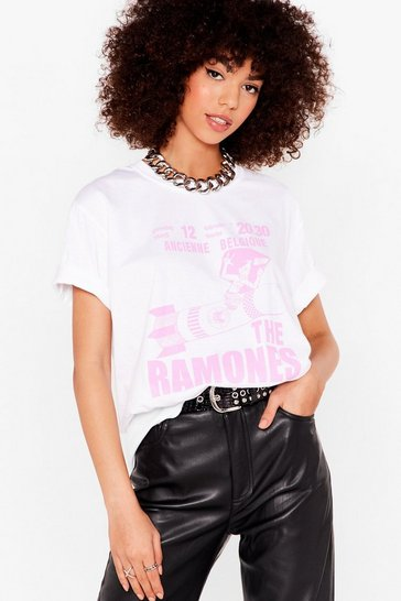 White Hey Ho Let's Go Ramones Graphic Band Tee