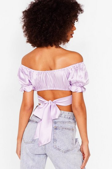 Lilac Make Your Smooth Off-the-Shoulder Crop Top