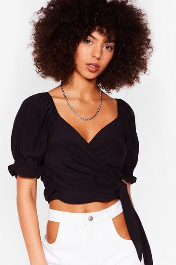 Black Puff Sleeve Wrap Tie Crop Top