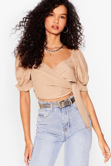 Stone Tie My Love Puff Sleeve Crop Top