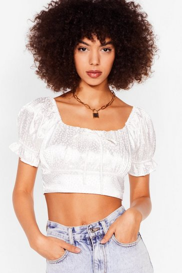 White We're in a Ruche Satin Cropped Blouse