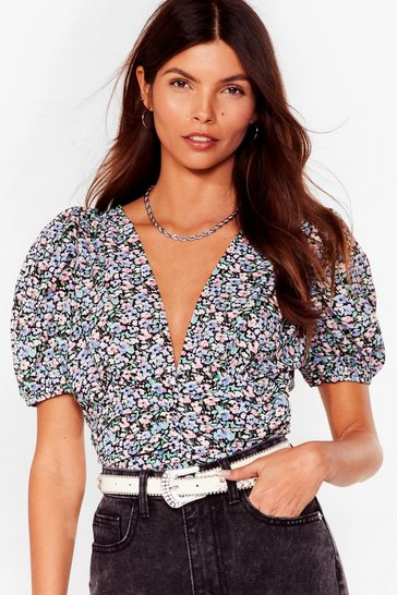 Lilac You Gotta Dig Deeper Floral Puff Sleeve Blouse