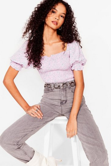 Lilac Have You Shirred Floral Puff Sleeve Top