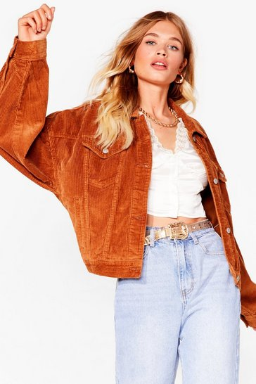 Camel Corduroy Drop Sleeve Oversized Jacket