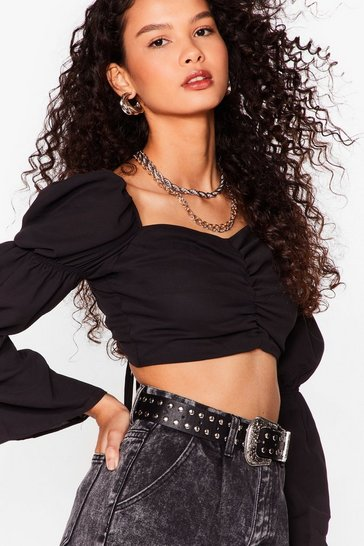 Black Making Me Ruche Puff Sleeve Cropped Blouse
