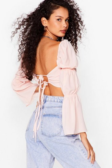 Peach Making Me Ruche Puff Sleeve Cropped Blouse