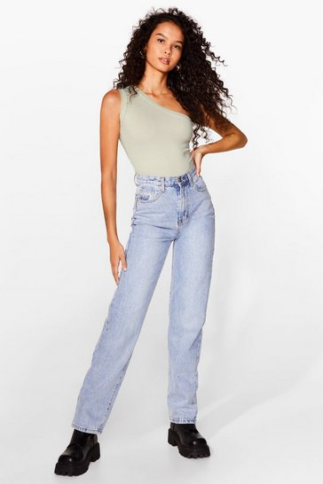 Sage Pick a Side One Shoulder Ribbed Bodysuit