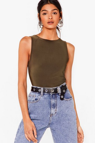 Olive Slink About It Racer High-Leg Bodysuit