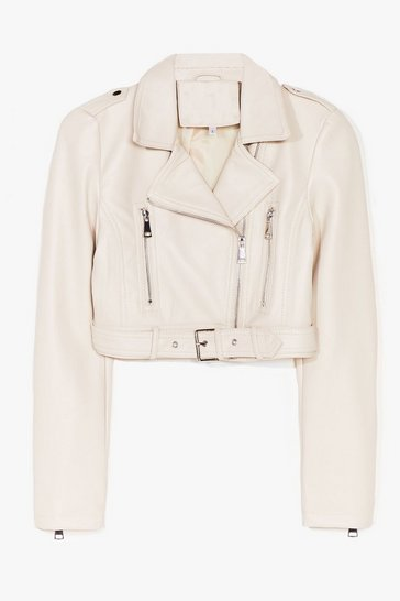 Cream Part Time Rocker Cropped Faux Leather Jacket