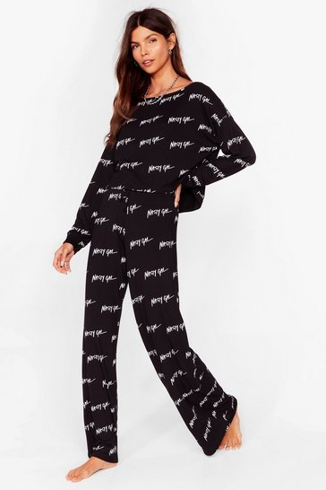 Black Nothing But a Nasty Gal Wide-Leg Lounge Set
