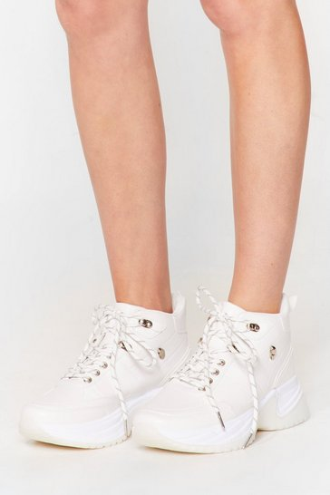 White PU mid top hiker sneakers