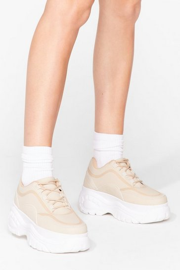 Beige We'll Be There Faux Leather Chunky Sneakers