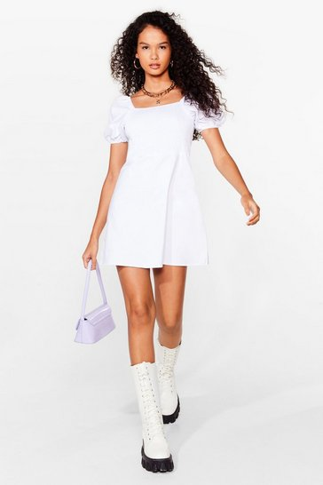 White Square Neck Shirred Mini Summer Dress