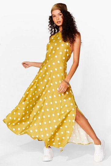 Mustard A Polka Dot on Our Mind Strappy Midi Dress