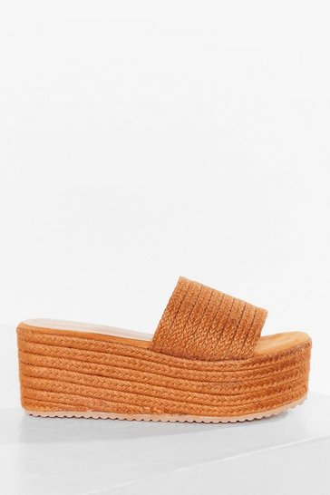 Camel Woven Direction Platform Sandals
