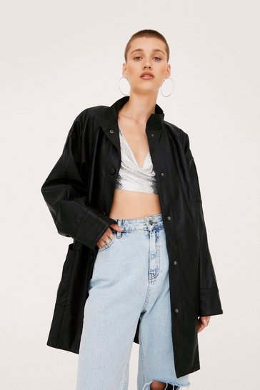 Black Oversized Faux Leather Longline Jacket