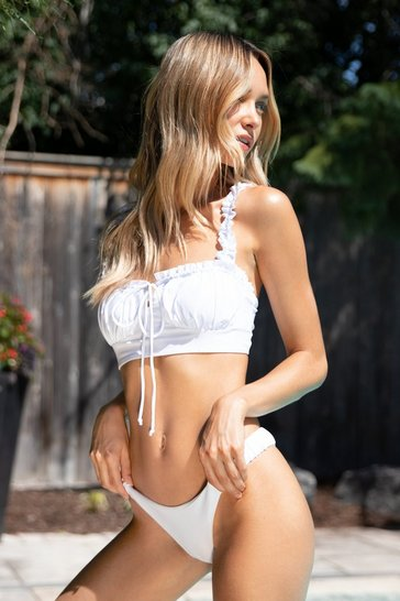 White Suns Frill Out Ruffle High-Leg Bikini Set