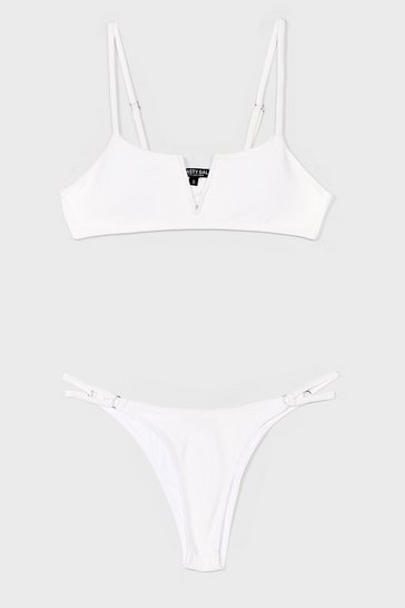 White Didn't V You There High-Leg Bikini Set