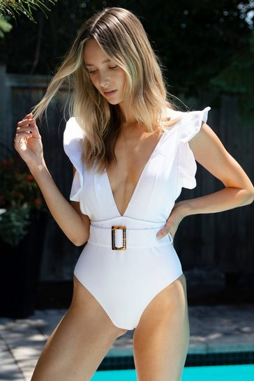 White Take Me Away Ruffle Belted Swimsuit