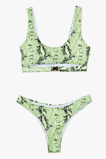 Green Snake It Easy Buckle High-Leg Bikini Set