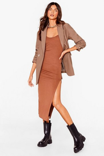 Chocolate I Know the Scoop Ribbed Midi Dress