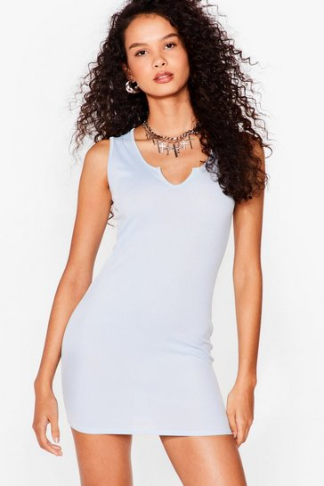 Baby blue Notch So Fast Ribbed Mini Dress