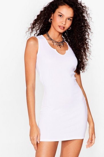 White Notch So Fast Ribbed Mini Dress
