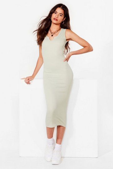 Sage Notch Today Fitted Midi Dress