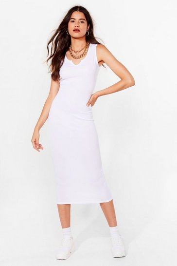 White Casual Ribbed Bodycon Midi Dress