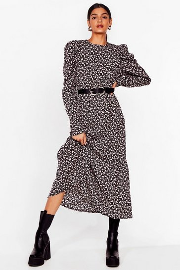 Black Puff Sleeve Midaxi Dress