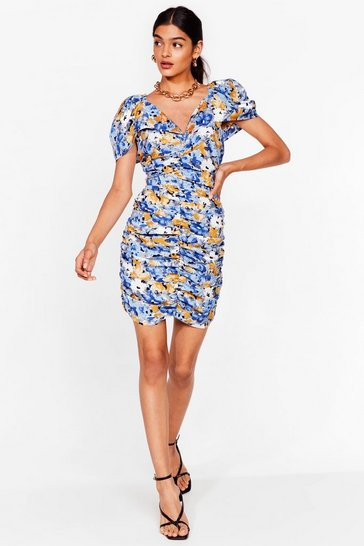Blue Painted floral gather front mini dress