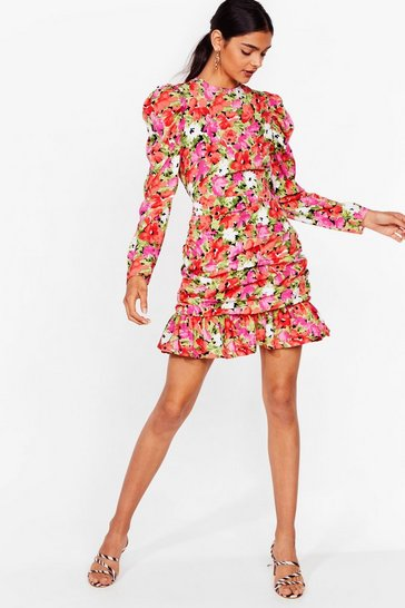 Red Painted Floral Flippy Hem Mini Dress