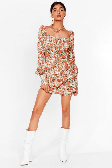 Cream Lookin' Bud on the Dancefloor Floral Mini Dress