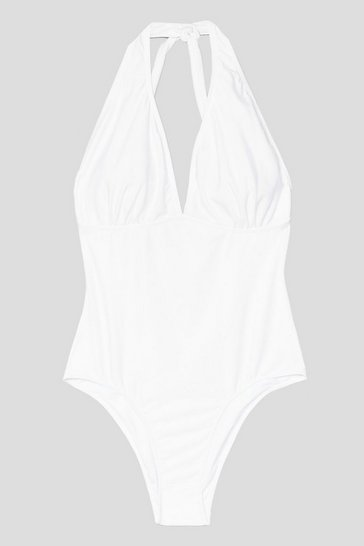 White Plus Size Halter Plunge Swimsuit