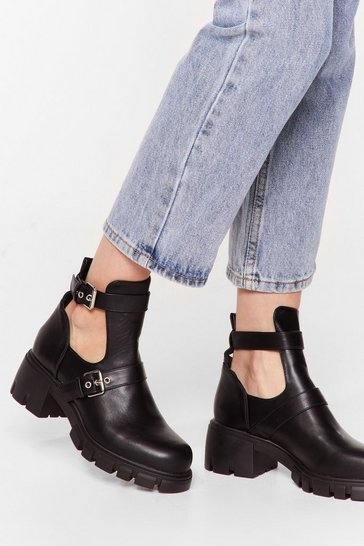 Black Cut-Out of Their League Faux Leather Chunky Boots