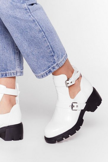 Cut-Out of Their League Chunky Croc Boots, White