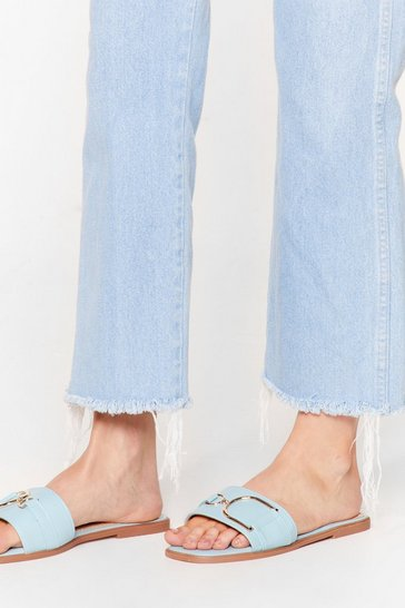 Blue ODD BUCKLE SQUARE TOE FLAT MULES