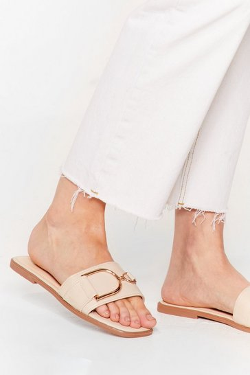 Buckle Up Faux Leather Flat Sandals, Beige